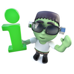 3d Funny cartoon frankenstein monster character holding an information symbol