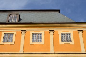 Fragment of facade of Menshikov Palace in Saint Petersburg.