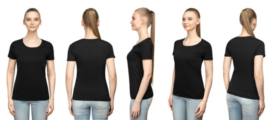 Set promo pose girl in blank black tshirt mockup design for print and concept template young woman in T-shirt front and half turn side back view isolated white background with clipping path