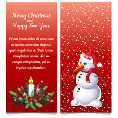 The pattern of double vertical Christmas card with snowman and sample text. Vector illustration.