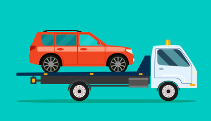 Wrecker is transporting a car. Vector flat style illustration