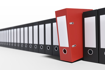 Many documents and folders in row. 3D rendered illustration.