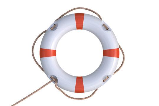 3D rendered illustration of white life buoy. Isolated on white background. 3D rendered illustration.