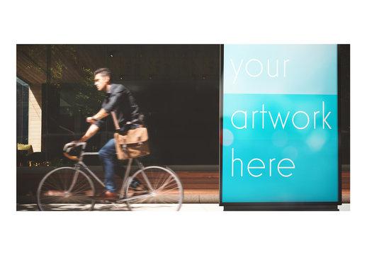 Man on Bike with Billboard Mockup