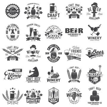 Set of Craft Beer and Winery company badge, sign or label. Vector illustration