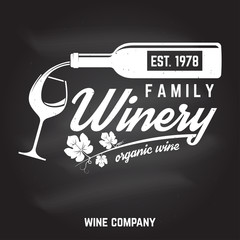 Family winery badge, sign or label. Vector illustration.