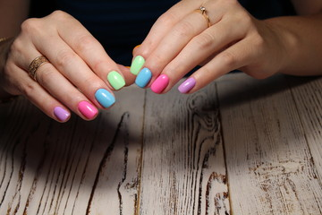glamorous multicolored manicure