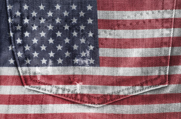 USA flag On Jeans Denim Texture. Closeup of United States of America Flag