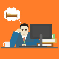 Cartoon Businessman Bored Tired at Work Character. Vector