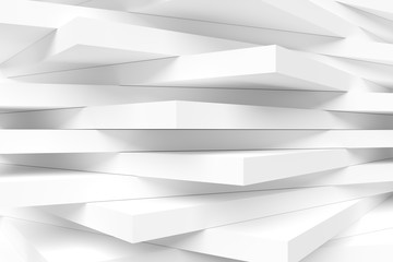 White Modern Interior Background. Abstract Building Blocks