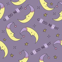 Doodle good night seamless pattern. Stars, moon. Good night. Hand drawn good night vector cover. Cartoon Funny Graphic good night
