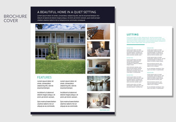 Real Estate Property Flyer Layout with Black Header Bar