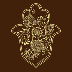 """Hamsa hand drawn symbol from flower. Decorative pattern in oriental style for interior decoration and henna drawings. The ancient sign of """"Hand of Fatima""""."""