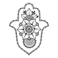 "Hamsa hand drawn symbol from flower. Decorative pattern in oriental style for interior decoration and henna drawings. The ancient sign of ""Hand of Fatima""."