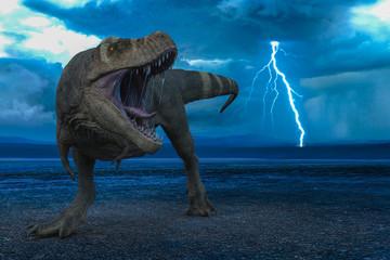 Fototapeta premium t-rex in the wild world storm