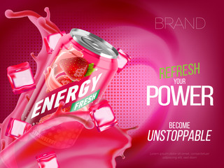 Strawberry cold energy drink in metal can with ice and juice splash advertising banner, soda water branding ready mockup high quality 3d vector realistic illustration