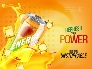 Mango cold energy drink in metal can with ice and juice splash advertising banner, soda water branding ready mockup high quality 3d vector realistic illustration