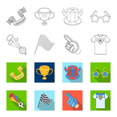 Pipe, uniform and other attributes of the fans.Fans set collection icons in outline,flat style vector symbol stock illustration web.