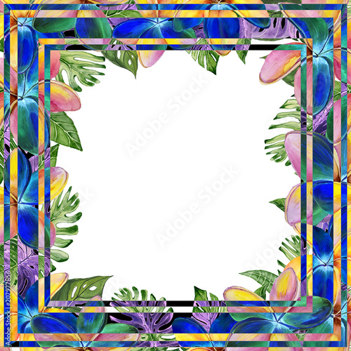 Beautiful tropical floral border made of plumeria flowers and exotic ...