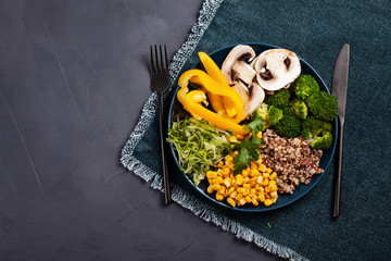 Vegetable vegetarian buddha bowl. Healthy food concept.