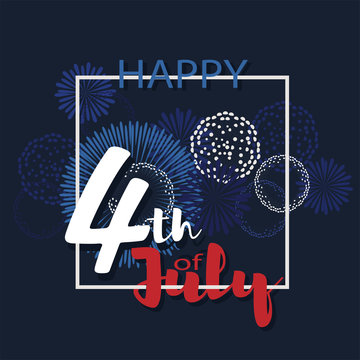 Happy 4th of July vector background. Fireworks of Independence day illustration.