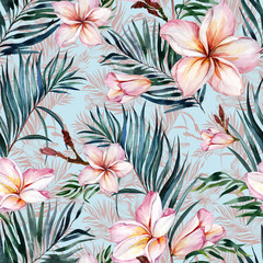 Pink plumeria flowers and exotic palm leaves in seamless tropical pattern. Blue background.  Watercolor painting. Hand drawn and painted floral illustration.