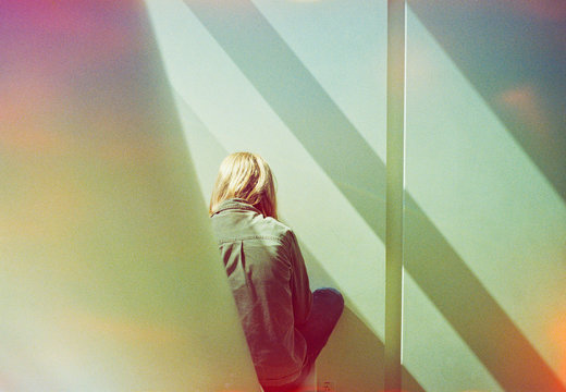 teen girl with shadows and color