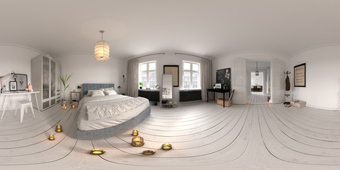 Spherical 360 panorama projection Bedroom interior 3D rendering