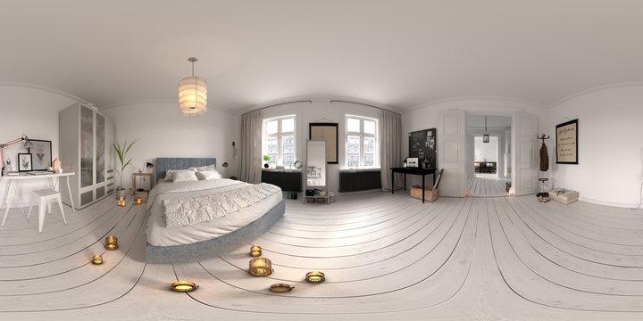 Spherical 360 panorama projection Bedroom interior 3D rendering