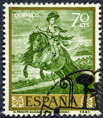 stamp printed by Spain shows picture Prince Balthazar Charles  by Velazquez