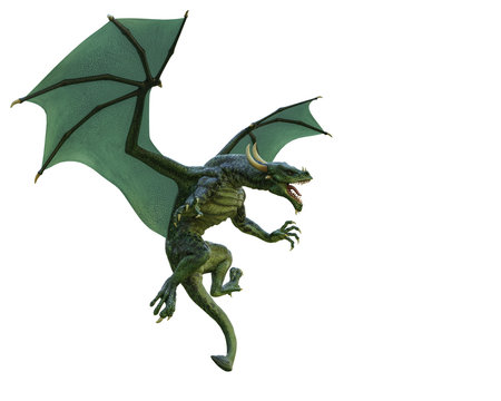 green dragon in a white background