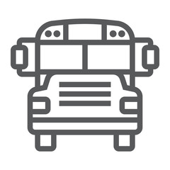 School bus line icon, school and education, transportation sign vector graphics, a linear pattern on a white background, eps 10.