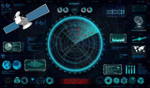 Radar screen and elements interface in HUD style ( Blip, dashboards, dish, circle elements, Satellite and Antenna) Military search system HUD for Game and Gui. Blip Sci-fi elements collection. Vector