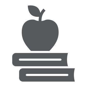 Apple on the books glyph icon, school and education, library sign vector graphics, a solid pattern on a white background, eps 10.
