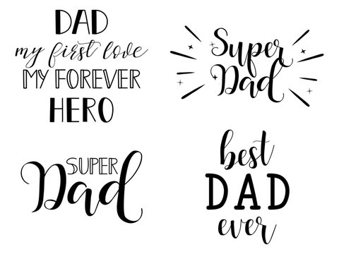 Super Dad set. Father's Day lettering for greeting cards, decoration, prints and posters. Modern calligraphy.