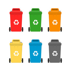Vector illustration. Set of garbage cans in flat style.