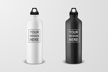 Vector realistic 3d white and black empty glossy metal water bottle with black bung icon set closeup on white background. Design template of packaging mockup for graphics. Front view