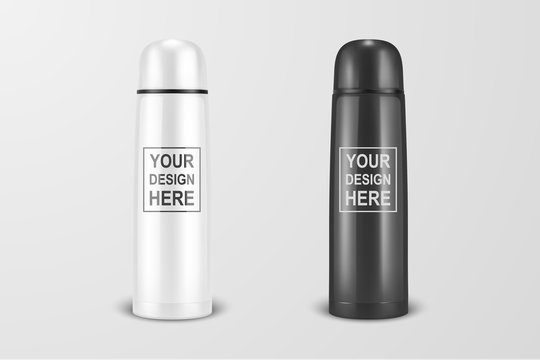 Vector realistic 3d white and black empty glossy metal vacuum thermo tumbler flask icon set closeup on white background. Design template of packaging mockup for graphics. Front view