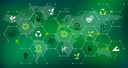 renewable & sustainable energy sources - water, solar, wind, biomass energy: vector illustration