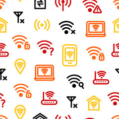 Wifi Wreless Thin Line Seamless Pattern Background. Vector