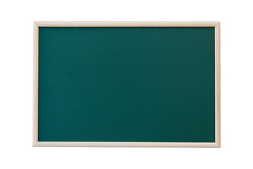 Empty green chalkboard with wooden frame isolated on white background. copy space for your text