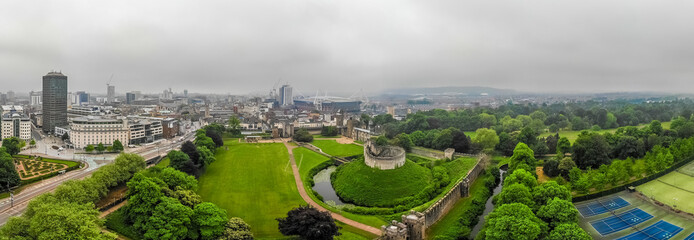 Aerial view of Cardiff castle in summer, Wales