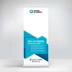 Creative advertising banner, roll-up design, stand for information, business concept for conferences, seminars, exhibitions, cool geometric background