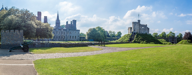 view of Cardiff castle in summer, Wales