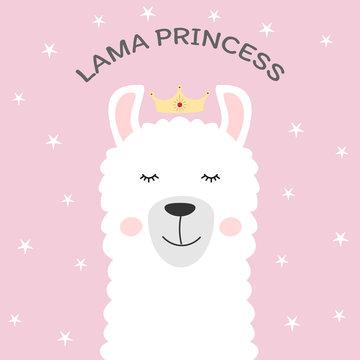 Cute cartoon animal and inscription lama princess