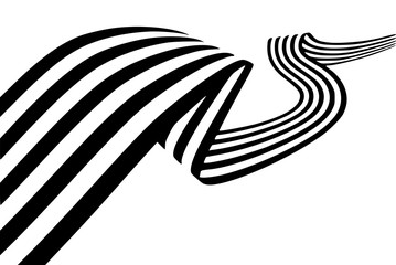 Abstract black and white stripes smoothly bent ribbon geometrical shape