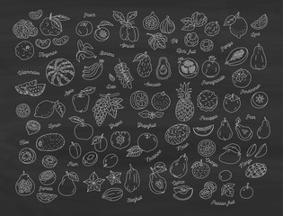 Fruit icon, Hand-drawn set of fruits on the blackboard. Vector flat illustration