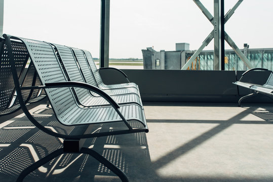 Empty bench in an airport terminal