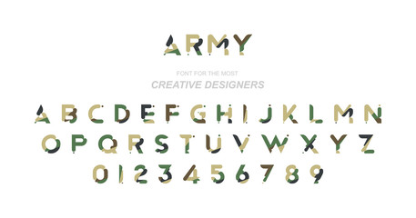 Original font in camouflage for creative design template. Flat illustration EPS10