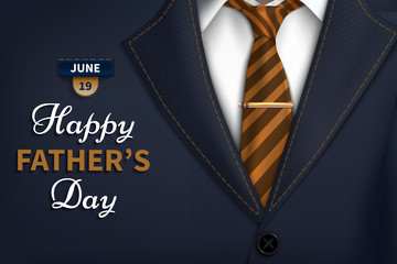 Happy Fathers Day greeting. Vector background with  necktie,costume Good vector illustration Realistic vector beautiful cover